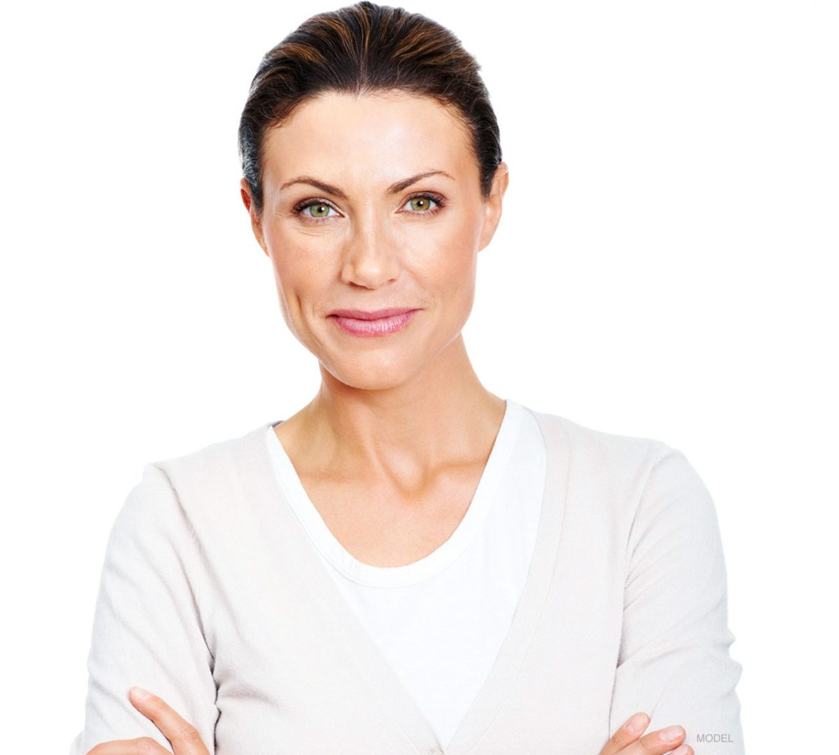 smiling middle age woman for brow lift